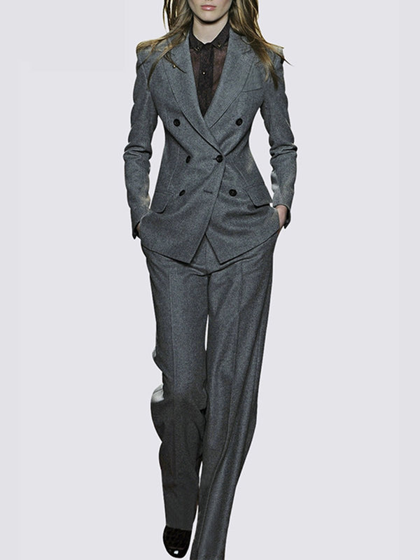 Dark Gray Buttoned Lapel Work Coat with Pants Two-Piece Set