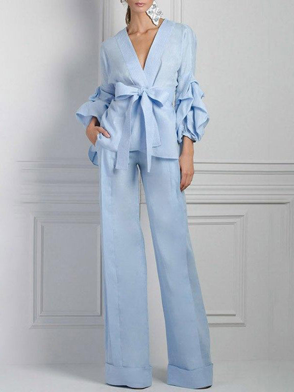 Solid Elegant Suit Top With Pants Two-piece Set
