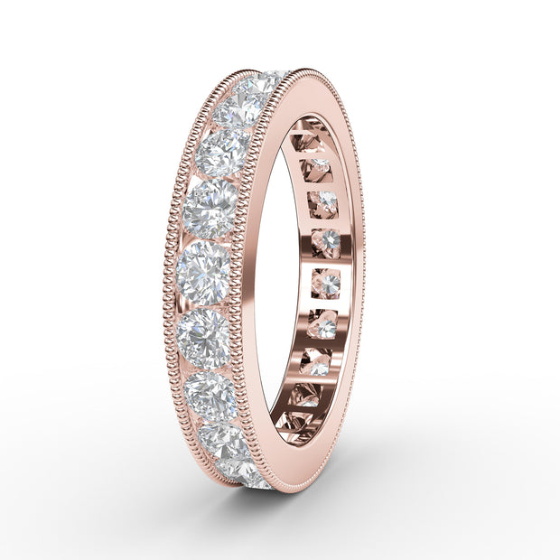 1 ½ CT TW 14k <strong>Rose Gold</strong> Lab-Grown Diamond Millegrain Channel Ring