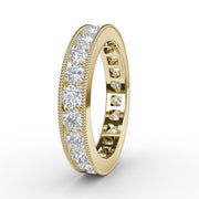 1 ½ CT TW 14k <strong>Yellow Gold</strong> Lab-Grown Diamond Millegrain Channel Ring