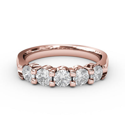 ½ CT TW 14k <strong>Rose Gold</strong> Lab-Grown Diamond 5 Stone Ring