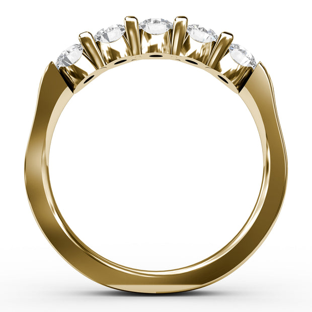 ½ CT TW 14k <strong>Yellow Gold</strong> Lab-Grown Diamond 5 Stone Ring