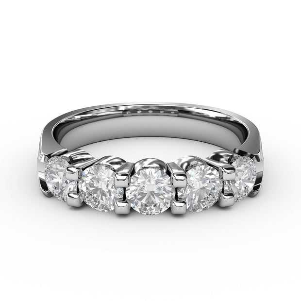 1 CT TW 14k <strong>White Gold</strong> Lab-Grown Diamond 5 Stone Ring