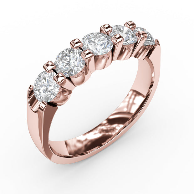 1 CT TW 14k <strong>Rose Gold</strong> Lab-Grown Diamond 5 Stone Ring