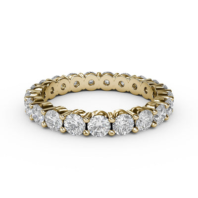 1 CT TW 14k <strong>Yellow Gold</strong> Lab-Grown Diamond Eternity 4 Prong Ring