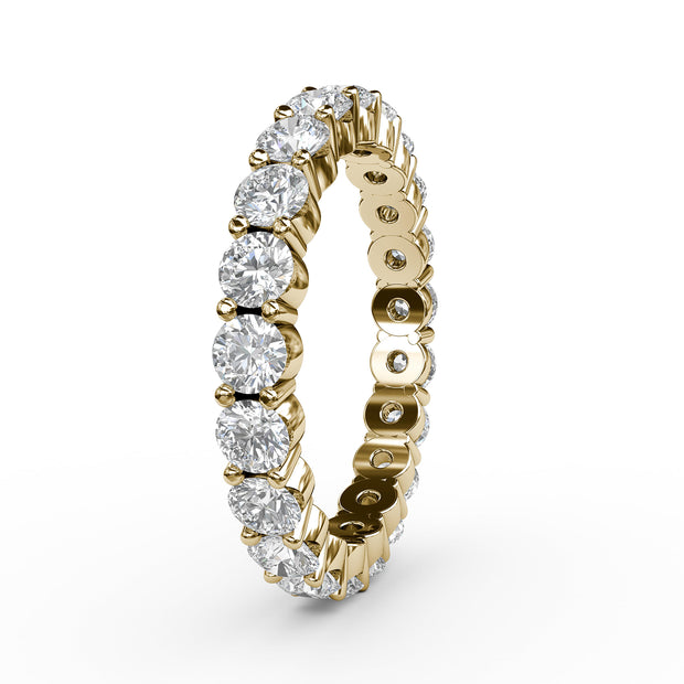2 CT TW 14k <strong>Yellow Gold</strong> Lab-Grown Diamond Eternity 4 Prong Ring