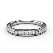 ⅓ CT TW 14k <strong>White Gold</strong> Lab-Grown Diamond Channel Wedding Band