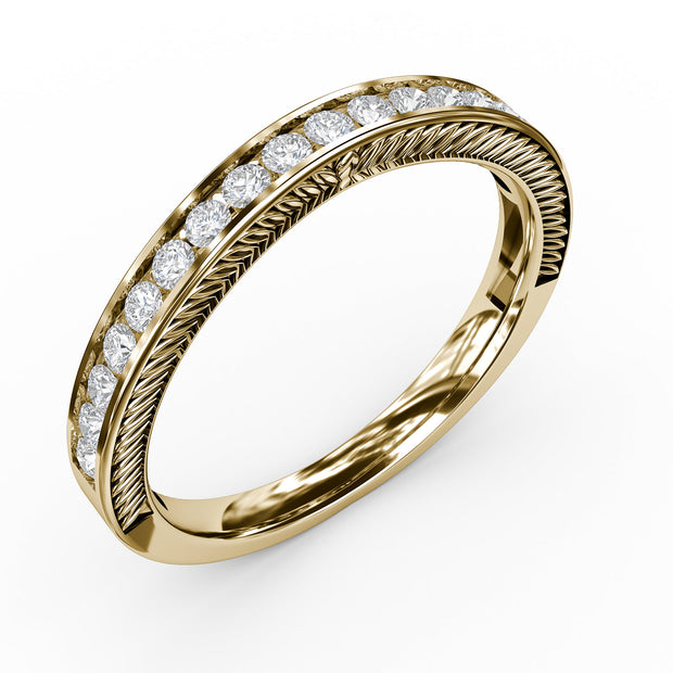 ⅓ CT TW 14k <strong>Yellow Gold</strong> Lab-Grown Diamond Channel Wedding Band