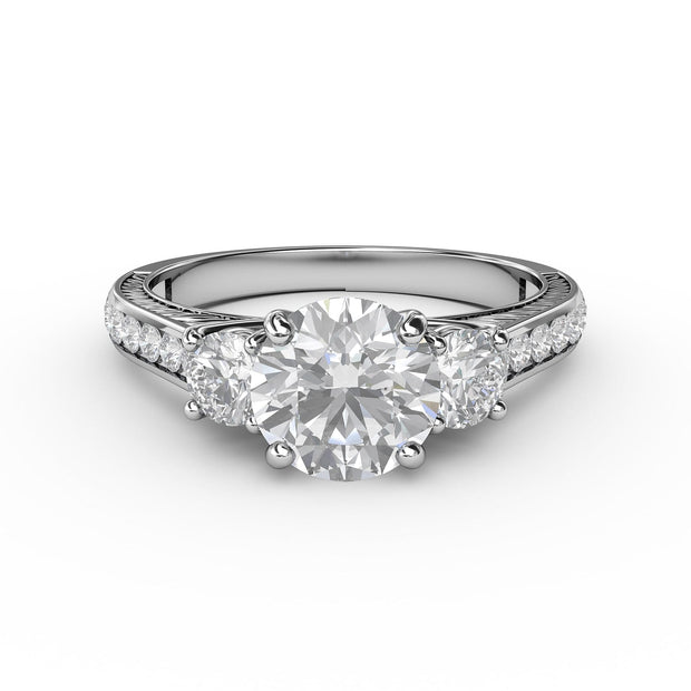 1 ⅗ CT TW 14k <strong>White Gold</strong> Lab-Grown 3 Stone Engagement Ring