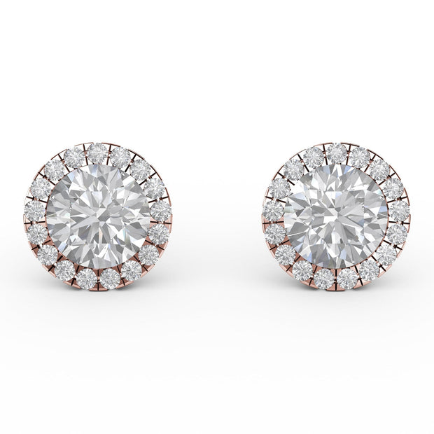 1 ⅒ CT TW 14k <strong>Rose Gold</strong> Lab-Grown Diamond Halo Stud Earrings