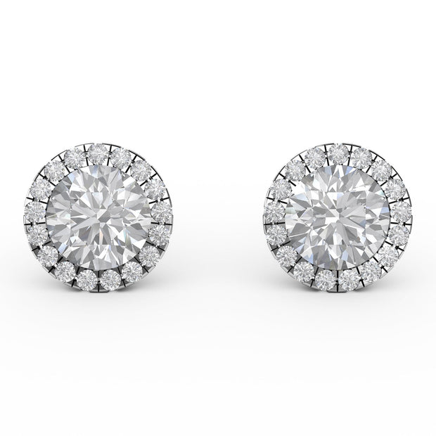 1 ⅒ CT TW 14k <strong>White Gold</strong> Lab-Grown Diamond Halo Stud Earrings