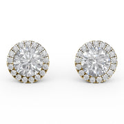 1 ⅒ CT TW 14k <strong>Yellow Gold</strong> Lab-Grown Diamond Halo Stud Earrings