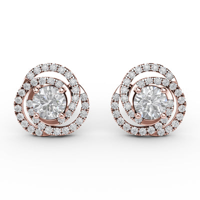 1 CT TW 14k <strong>Rose Gold</strong> Lab-Grown Diamond Swirl Stud Earrings