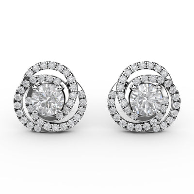 1 CT TW 14k <strong>White Gold</strong> Lab-Grown Diamond Swirl Stud Earrings