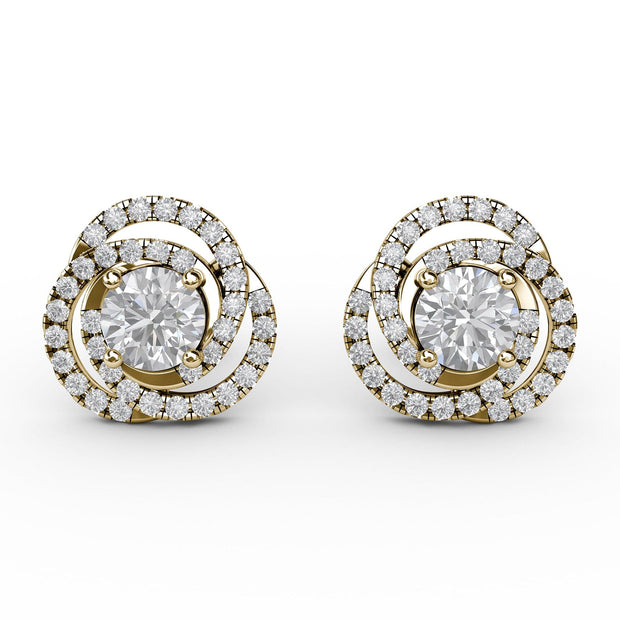 1 CT TW 14k <strong>Yellow Gold</strong> Lab-Grown Diamond Swirl Stud Earrings