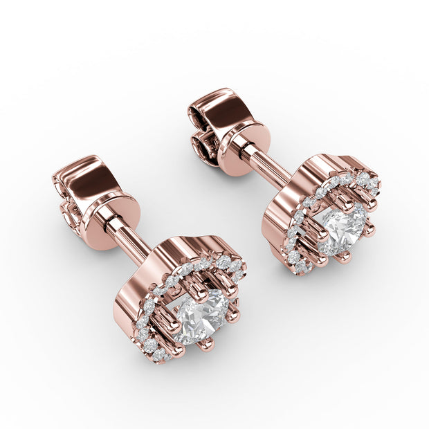 ⅞ CT TW 14k <strong>Rose Gold</strong> Lab-Grown Diamond Floral Studs