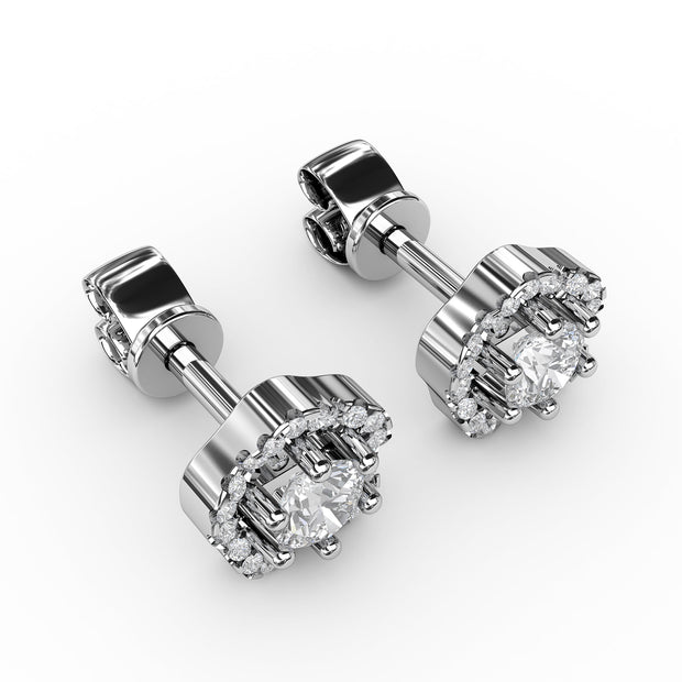 ⅞ CT TW 14k <strong>White Gold</strong> Lab-Grown Diamond Floral Studs