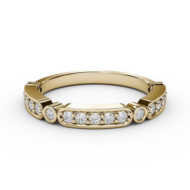 ¼ CT TW 14k <strong>Yellow Gold</strong> Lab-Grown Diamonds Deco-Styled Ring