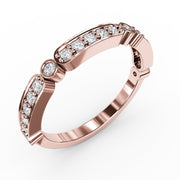 ¼ CT TW 14k <strong>Rose Gold</strong> Lab-Grown Diamonds Deco-Styled Ring