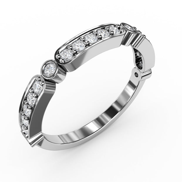 ¼ CT TW 14k <strong>White Gold</strong> Lab-Grown Diamonds Deco-Styled Ring