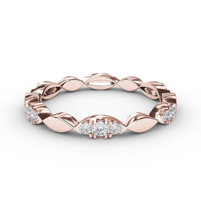 ¼ CT TW 14k <strong>Rose Gold</strong> Lab-Grown Diamonds Marquis-Shaped Stackable Ring