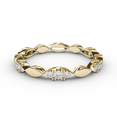 ¼ CT TW 14k <strong>Yellow Gold</strong> Lab-Grown Diamonds Marquis-Shaped Stackable Ring