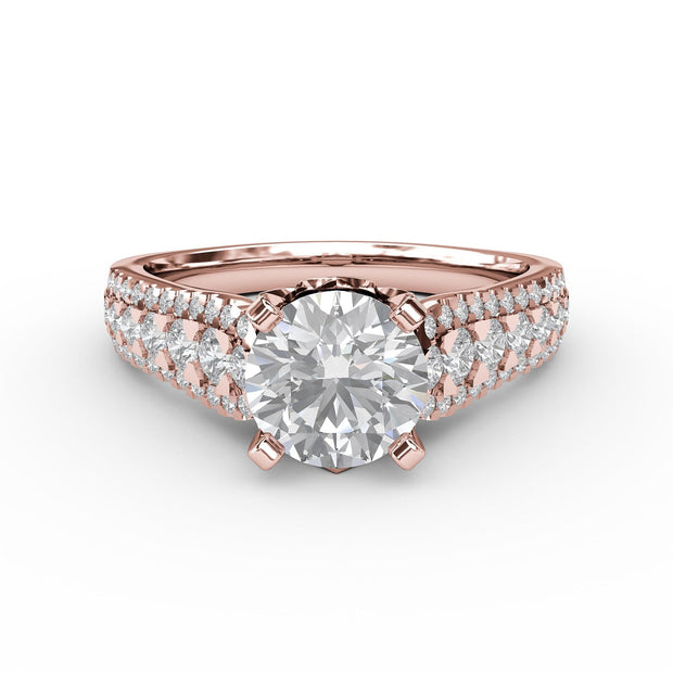 1 ⅝ CT TW 14k <strong>Rose Gold</strong> Lab-Grown Diamond 3 Row Engagement Ring
