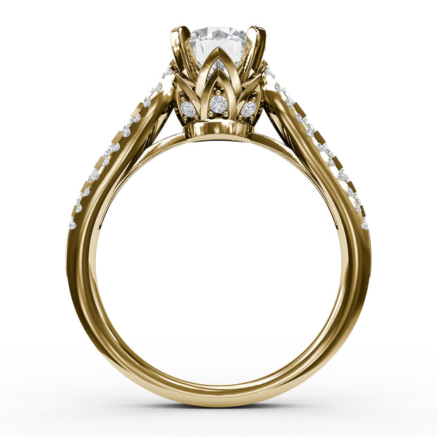 1 ⅝ CT TW 14k <strong>Yellow Gold</strong> Lab-Grown Diamond 3 Row Engagement Ring