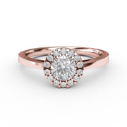 ½ CT TW 14k <strong>Rose Gold</strong> Lab-Grown Diamond Halo Engagement Ring