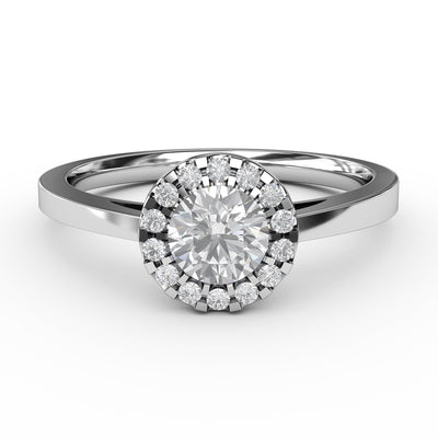 1/2 CT. TW 14k White Gold Lab-Grown Diamond Halo Engagement Ring