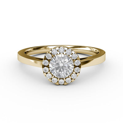 ½ CT TW 14k <strong>Yellow Gold</strong> Lab-Grown Diamond Halo Engagement Ring