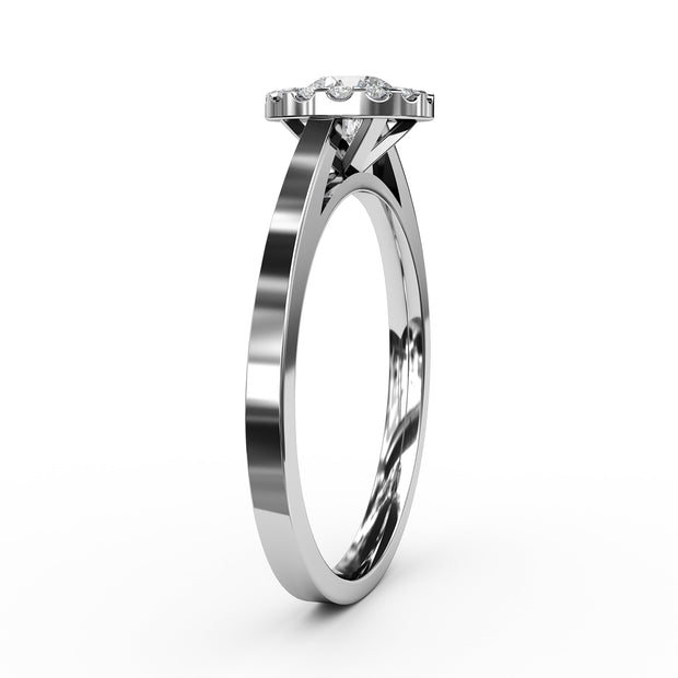 ½ CT TW 14k <strong>White Gold</strong> Lab-Grown Diamond Halo Engagement Ring
