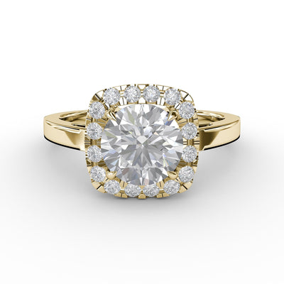1 CT TW 14k <strong>Yellow Gold</strong> Lab-Grown Diamond Cushion-Cut Halo Engagement Ring