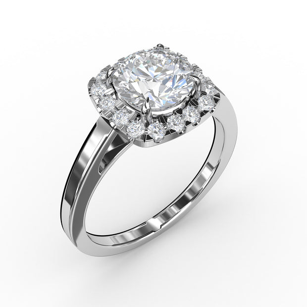 1 CT. TW Lab-Grown Diamond Cushion-Cut Halo Engagement Ring