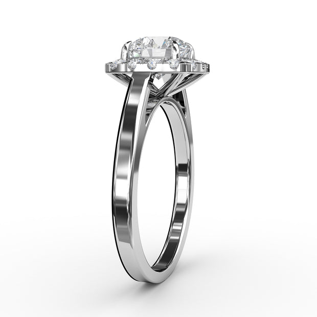 1 CT. TW 14k White Gold Lab-Grown Diamond Cushion-Cut Halo Engagement Ring