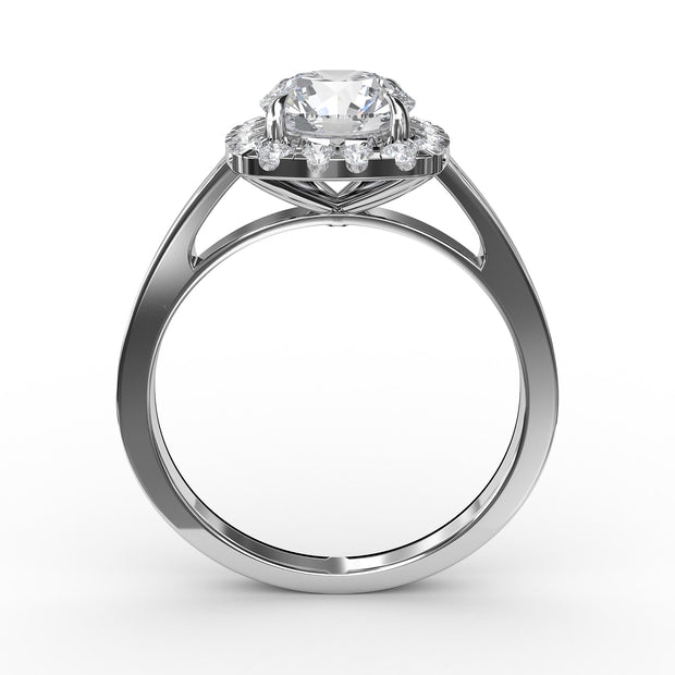 1 CT TW 14k <strong>White Gold</strong> Lab-Grown Diamond Cushion-Cut Halo Engagement Ring