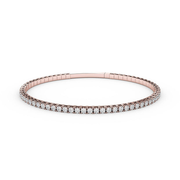 3 CT TW 14k <strong>Rose Gold</strong> Lab-Grown Diamond Flex Bangle Bracelet