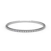 2 CT TW 14k <strong>White Gold</strong> Lab-Grown Diamond Flex Bangle Bracelet