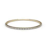 2 CT TW 14k <strong>Yellow Gold</strong> Lab-Grown Diamond Flex Bangle Bracelet