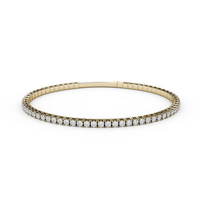 3 CT TW 14k <strong>Yellow Gold</strong> Lab-Grown Diamond Flex Bangle Bracelet