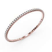 2 CT TW 14k <strong>Rose Gold</strong> Lab-Grown Diamond Flex Bangle Bracelet