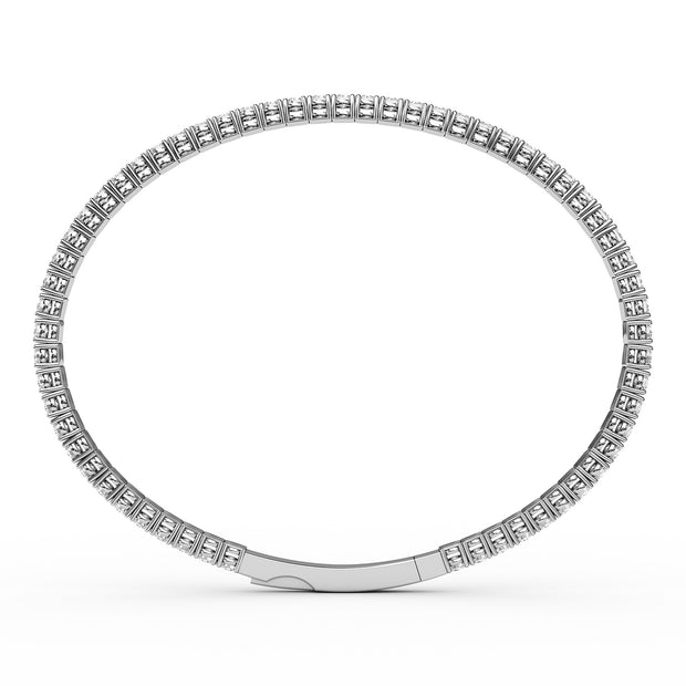 3 CT TW 14k <strong>White Gold</strong> Lab-Grown Diamond Flex Bangle Bracelet