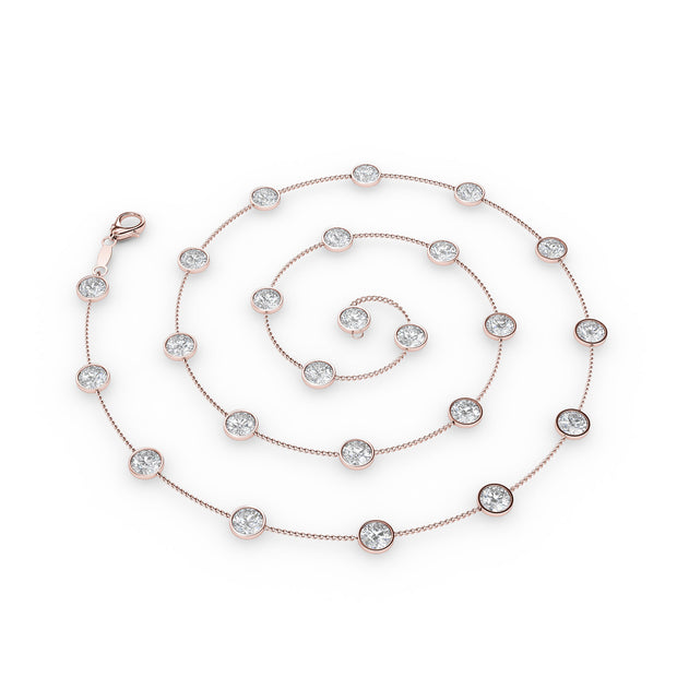 2 CT TW 14k <strong>Rose Gold</strong> Diamonds by the Yard Necklace (36 inches)