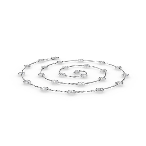 2 CT TW 14k <strong>White Gold</strong> Diamonds by the Yard Necklace (36 inches)