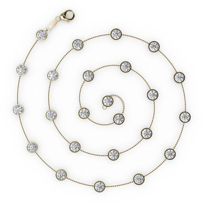 1 CT TW 14k <strong>Yellow Gold</strong> Diamonds by the Yard Necklace (16 inches)
