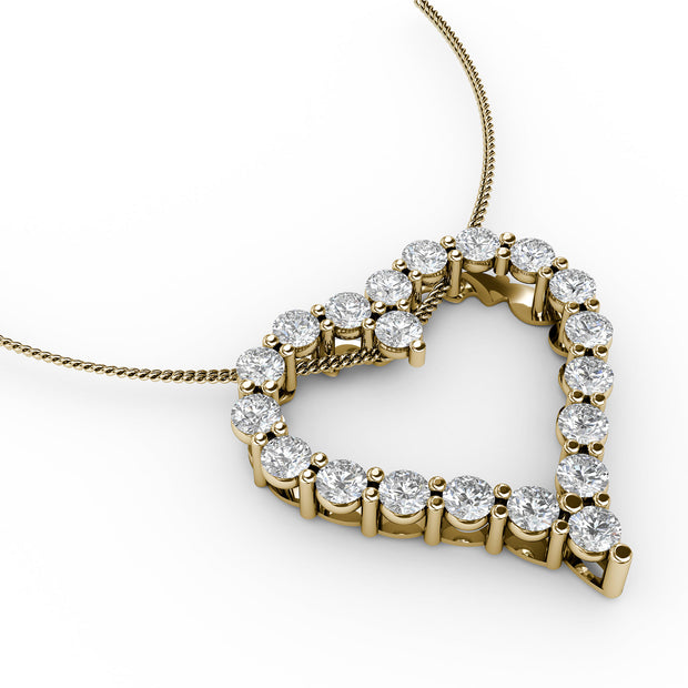 1 CT TW 14k <strong>Yellow Gold</strong> Lab-Grown Diamond Heart Pendant