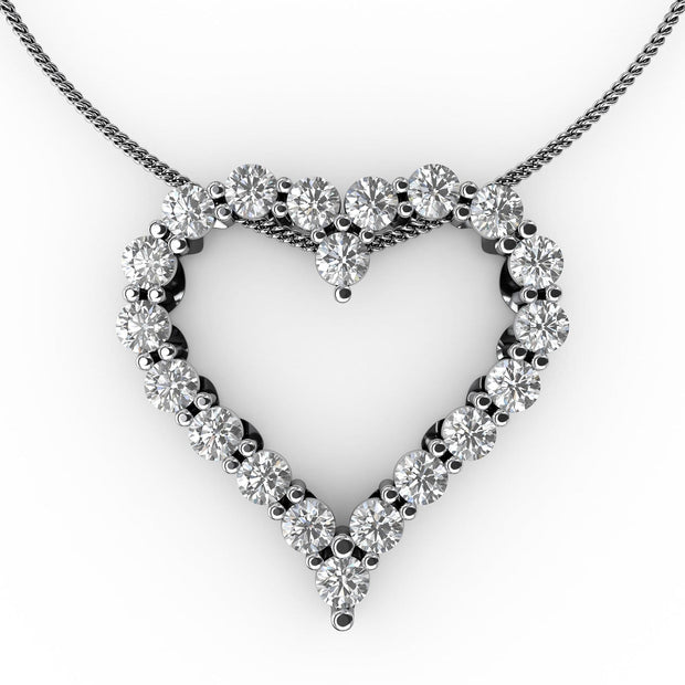 1 CT TW 14k <strong>White Gold</strong> Lab-Grown Diamond Heart Pendant