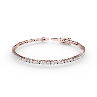 2 CT TW 14k <strong>Rose Gold</strong> Lab-Grown Diamond Tennis Bracelet