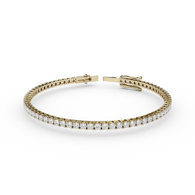 2 CT TW 14k <strong>Yellow Gold</strong> Lab-Grown Diamond Tennis Bracelet