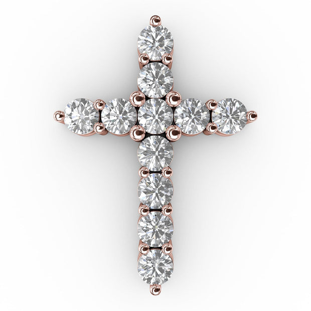 1 CT TW 14k <strong>Rose Gold</strong> Lab-Grown Diamond Cross Pendant